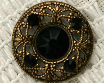 Affordable Round Midnight Bindi in Oxidized Brass