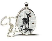 Deer with Butterflies Jewelry Necklace Hamilton House Prints Original Print Necklace Deer Necklace Dictionary Necklace