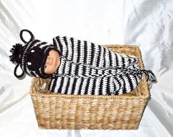 Crochet Baby Cocoon, Hat Set, Newborn, Zebra, Black, White, Earflap Hat, Baby Shower