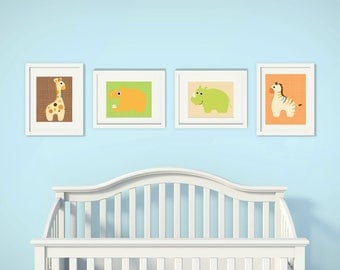Baby Boy Animals | Set of 4 | Nursery Art | Wall Art | Nursery Decor | 5x7 | 8x10 | 11x14