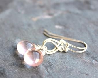 Rose Quartz Earrings Petite Pink Drop Teardrop Gemstone Earrings Sterling Silver
