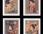 4 Blank Note Cards of Ukiyoe Bijin by Yoshitoshi gccs020