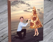 Roger Proposes to his True Love - Pizza Proposal - Wood Block Art Print