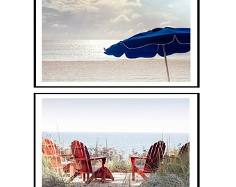 Red White and Blue Art, 4th of July Decor, Photography Print Set, Wall Art, 2  Images ,Beach Set, Summer Cottage Decor, Red, Navy