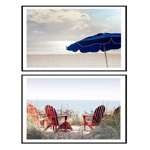 Art, Photography, Discount Print Set, Wall Art, 2 Individual Images ,Landscapes, Beach Set,Summer Cottage Decor, Red, Navy