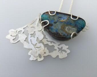Boulder Opal Sterling Silver Pendant Wildflower series