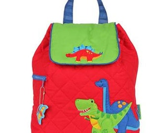 SHIPS NEXT DAY--Personalized Monogrammed --New Pattern-- Stephen Joseph Kid Quilted Red Dinosaur Dino Backpack--Free Monogramming--