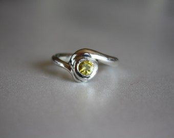FINE SILVER ring with yellow/canary CZ Handmade