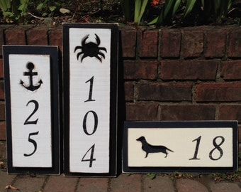 House Number Address Sign Beach Lake House Nautical by CastawaysHall - 1 Number Digit