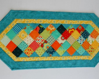 Modern Quilted Table Runner, Quilted Table Topper, Patchwork Runner, Bright Colors, Spring Summer