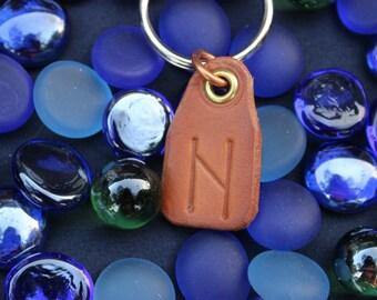 Hagalz Leather Rune Keychain, Hagall, Haegl, Hagalar, Haglaz, Haal, Hail leather rune keychain