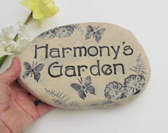 Garden art. Personalized Garden stone, Custom Garden Sign. Garden Rock. Outdoor name signage. Ceramic plaque, Nature designs. Made to order
