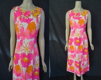 Pink Floral BEADED Hawaiian Vintage 1960's MOD Maxi Summer Train Dress S M