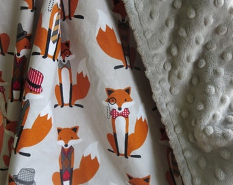 Fox Baby Blanket, Boy Minky Blanket, Stroller Blanket, Fox and the Houndstooth Gray, Fox Crib Bedding, Made to Order, Personalized Blanket