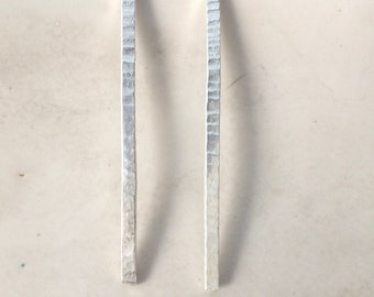 Long Textured Spike Earrings in Sterling Silver