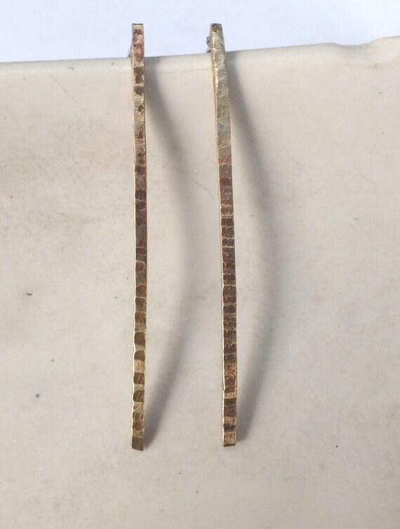 Long Textured Spike Earrings in Copper