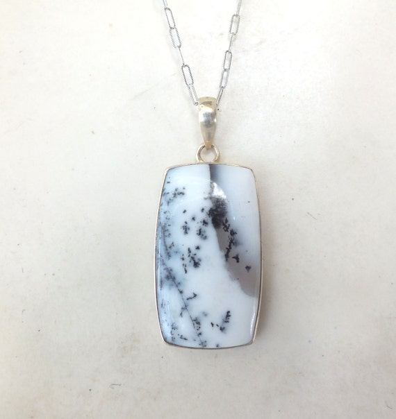 Opalite and Sterling Necklace----Black and White