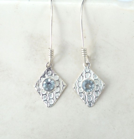 Aquamarine and Sterling Silver Patterned Drop Earrings