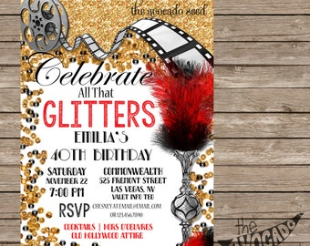 Glam Old Hollywood Birthday (or any event) Invitation - DIY Printing or Professional Prints