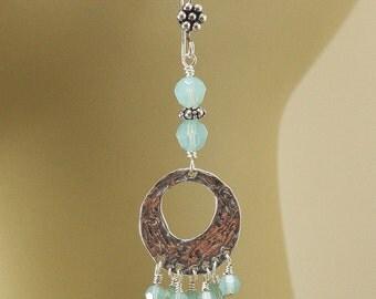Turquoise Chandelier Earrings Hippie Chic Bohemian Crystal and Sterling Silver Chandelier Earrings Long Dangle Earrings