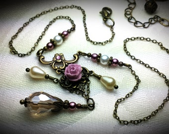 Dusty Pink Rose & Champagne Ivory Crystal Pearl Drop Victorian Choker Necklace Bronze Filigree Titanic Temptations Vintage Bridal Jewelry