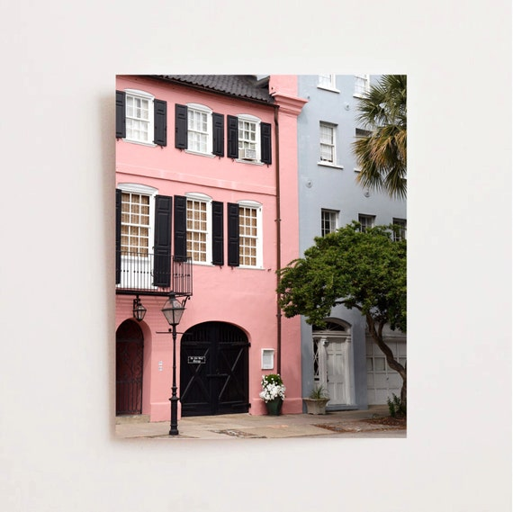 Charleston art rainbow row photograph pink house print for Home decor charleston sc