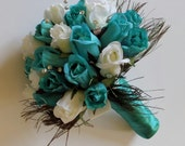 Teal, Blue and Ivory Bridal Bouquet, Rose Bridal Bouquet, Rhinestone and Peacock Feathers, Elegant Bridal Bouquet, Silk Wedding