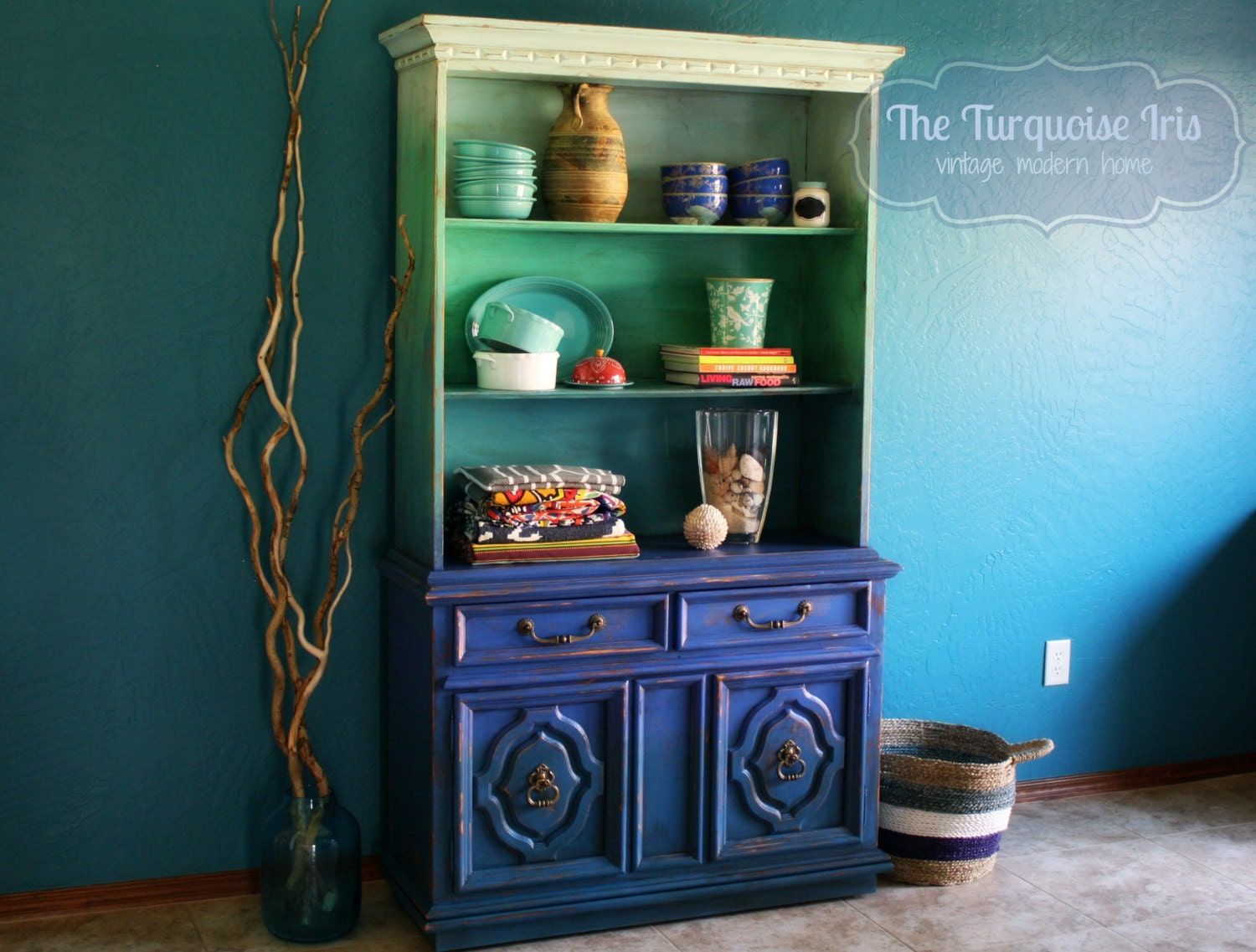 Ombre' Hutch / Bookshelf In Shades Of Turquoise And Blue