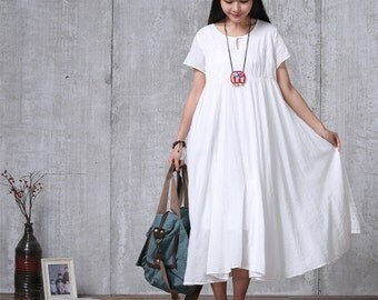 Loose Fitting Long Maxi Dress - Summer Dress in Off-White  - Short Sleeve Cotton Sundress for Women