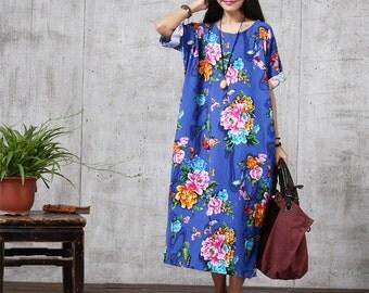 Sale - Casual Loose Fitting Oversized Cotton Long Dress Blouse- Women Maxi dress Plus Size (M- 3XL)