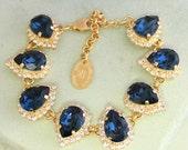 Blue Navy Bracelet,Swarovski Rhinestone bracelet, Bridal Rhinestone Bracelet, Drop shape bracelet,Blue Navy Swarovski Bracelet,Blue Bracelet