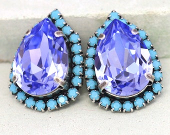 Purple Earrings,Purple Turquoise Teardrop Earrings,Swarovski Crystal Stud Earrings,Gift for her,Bridal Lavender Crystal Earrings