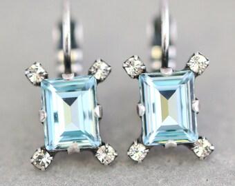 Aquamarine Drop Earrings,Emerald cut Delicate Earrings,Gift for her,Silver Light Azure Dainty dangle Earrings,Swarovski Bridal Earrings