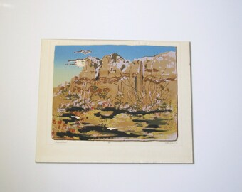 Vintage litho Superstition Mountain Arizona/ stylized Southwest Art