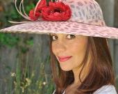Summer hat leopard print, big brim hat, couture hat, cocktail hat, headpiece