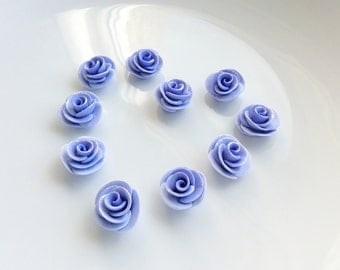 Lilac rose beads with shimmering metallic petal tips handsculpted from polymer clay