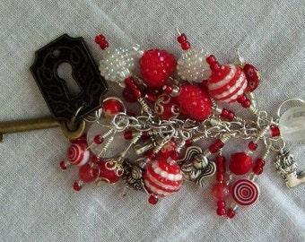 Beaded purse charm fob key chain zipper pull