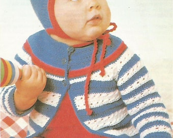 Cardigan with Bonnet Crochet Pattern No 73 Instant Download