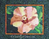 Hibiscus Art Quilt, 4557-2, flower fabric art, flower wall hanging