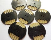 Large Carved Celluloid Buttons, Black  & Tan Set of 7, 38 mm