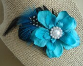 Teal Feather Fascinator, Teal Hair Clip, Teal Feather Accessory, Teal Flower Accessory, Wedding Accessory, Wedding Facinator, Teal Hair Clip