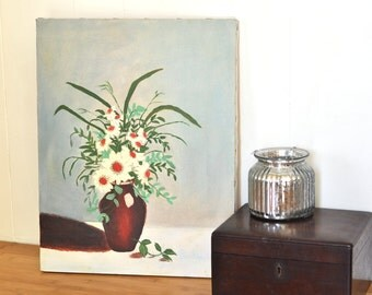 Vintage Oil Painting Daisies Floral Bouquet Fresh Flowers in Vase White Flowers w/ Greenery in Pale Blue Gray Background