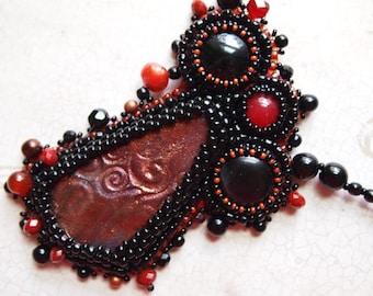 RESERVE FOR MARGARET  Bead Embroidery Necklace Raku Depth