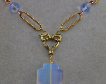 Vintage Chain And Czech Glass Cross Necklace