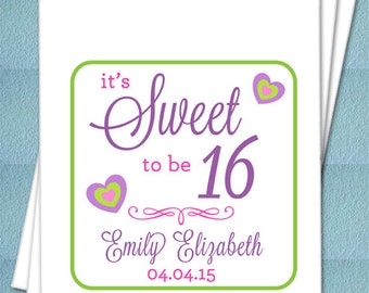 Personalized Favor Bags - SWEET 16 - Birthday Party Favor bags, Candy Buffet, Candy Bags, Treat Bags - Set of 25