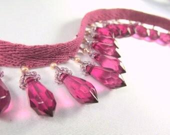 Magenta Rose Burgundy Fuchsia Short Beaded Fringe Trim for Costume or Home Decorator Beaded Trim - Marsala Collection