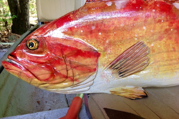 """Red Grouper chainsaw carving 32"""" beach house saltwater trophy fish original Ocean Arts hand carved sport fishing decor sculpture wall art"""