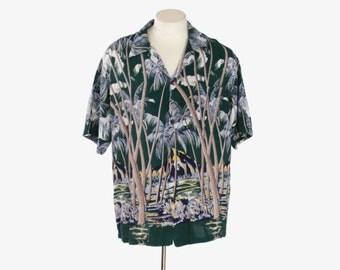 Vintage 60s HAWAIIAN SHIRT / 1960s MEN'S Rayon Loop Collar Border Print Aloha Shirt
