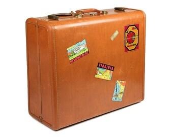 Samsonite Suitcase with Vintage Travel Stickers / Vintage Luggage / Suitcase Stickers / Old Suitcase / Suitcase Photo Prob / 1950s Suitcase