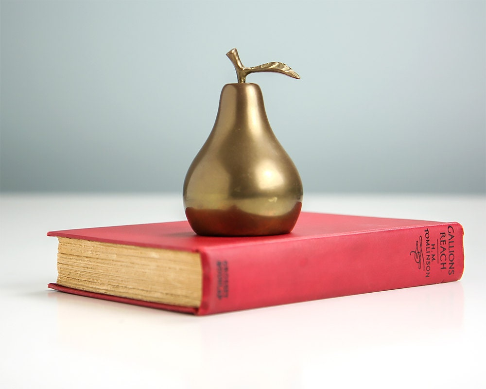Vintage brass pear bell vintage home decor antique brass for Brass home decor